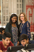 Destini Williams, left, and Deborah Greco, right, pose for a photograph at North Houston Early College High School, January 12, 2017.
