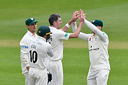 Wicket - Steve Magoffin of Worcestershire celebrates taking the wicket of James Vince of Hampshire during the Specsavers County Champ Div 1 match between Hampshire County Cricket Club and Worcestershire County Cricket Club at the Ageas Bowl, Southampton, United Kingdom on 13 April 2018. Picture by Graham Hunt.