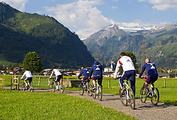 05.07.2011, Tauern SPA, Kaprun, AUT, Olympique Lyon, Training, im Bild beim Radfahren die Spieler von Olympique Lyon beginnen ihren Trainingstag mit einer Radtour um sieben Uhr morgens, im hintergrund das Bergpanorama rund um das Kitzsteinhorn // the players of Olympique Lyon begin their training day with a bike ride at seven clock in the morning, in the background the mountains around the Kitzsteinhorn during a training session on bikes of Olympique Lyon, in Kaprun, Austria on 2011/07/05, EXPA Pictures © 2011, PhotoCredit: EXPA/ J. Feichter