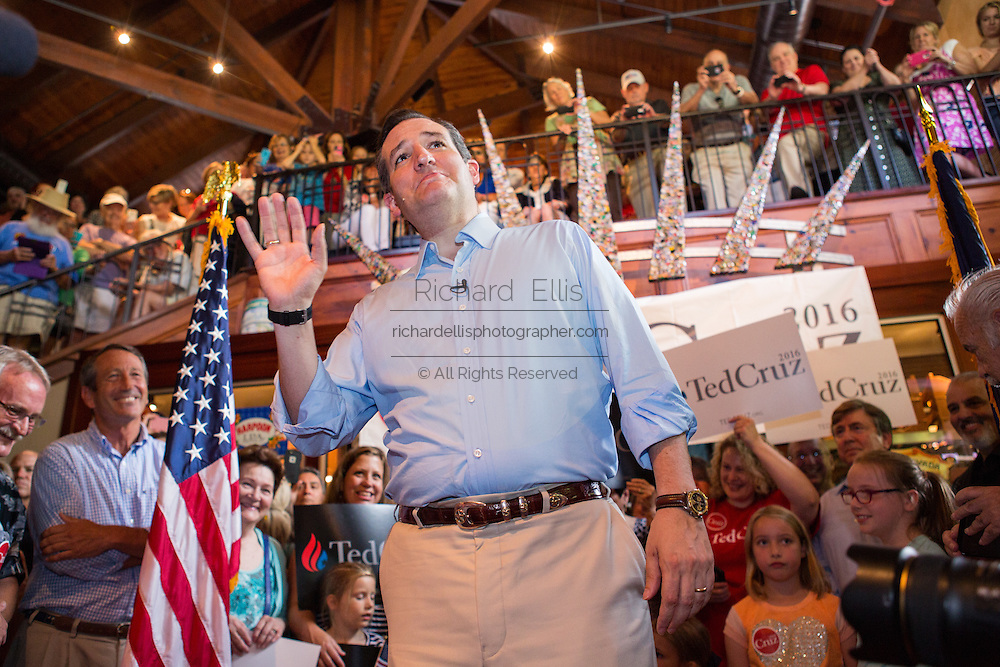 U.S. Senator and GOP presidential candidate Ted Cruz speaks during a town hall meeting with supporters at the Liberty Tap Room restaurant August 7, 2015 in Mt Pleasant, South Carolina. The event was the kick off event of a seven-day bus tour called the Cruz Country Bus Tour of southern states.