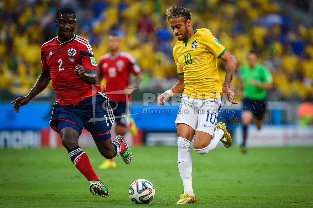 Neymar Júnior em lance da partida entre Brasil x Colombia, válida pelas quartas de final da Copa do Mundo 2014, no Estádio Castelão, em Fortaleza-CE. FOTO: Jefferson Bernardes/ Agência Preview