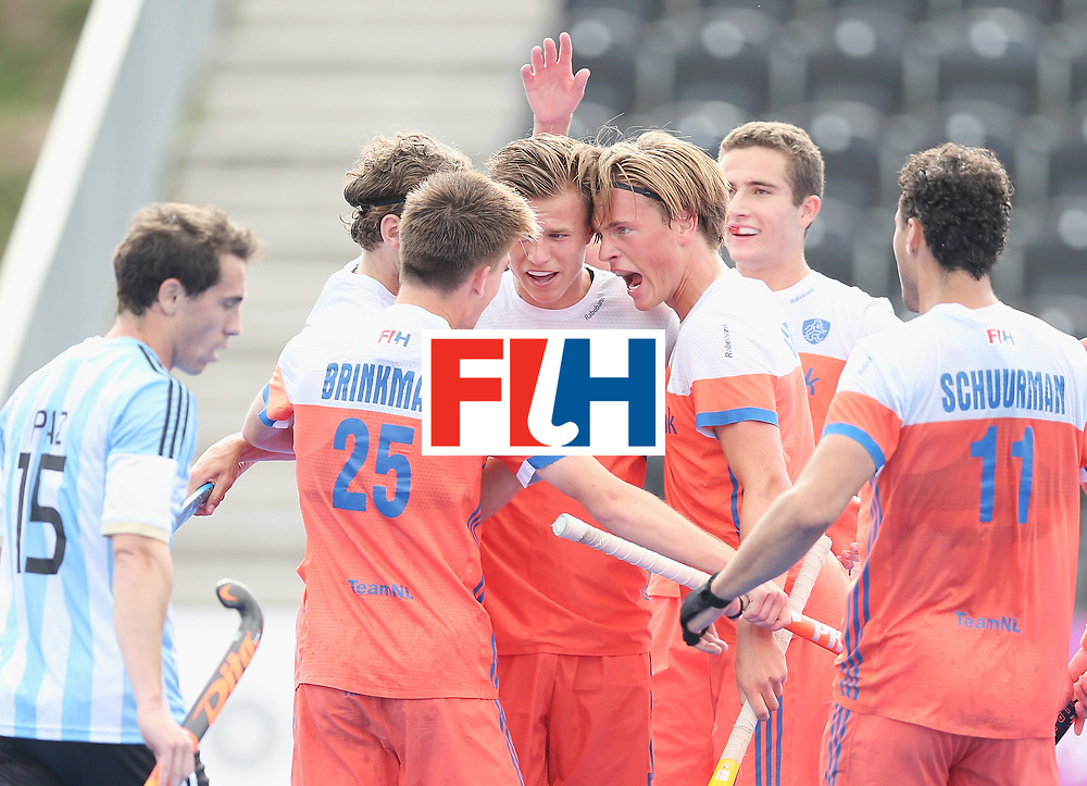 LONDON, ENGLAND - JUNE 25:  Thijs van Dam of the Netherlands celebrates scoring their teams third goal with teammates during the final match between Argentina and the Netherlands on day nine of the Hero Hockey World League Semi-Final at Lee Valley Hockey and Tennis Centre on June 25, 2017 in London, England.  (Photo by Alex Morton/Getty Images)