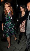 23.OCTOBER.2008. LONDON<br /> <br /> SARAH FERGUSON LEAVING CIPRIANI'S RESTAURANT, MAYFAIR AT 1.00AM AFTER HAVING DINNER WITH HER DAUGHTERS, PRINCESS EUGENIE AND PRINCESS BEATRICE WHO WERE ALSO WITH THEIR BOYFRIENDS. THEY LATER VISITED WHISKY MIST CLUB IN MAYFAIR, LONDON<br /> <br /> BYLINE: EDBIMAGEARCHIVE.CO.UK<br /> <br /> *THIS IMAGE IS STRICTLY FOR UK NEWSPAPERS AND MAGAZINES ONLY*<br /> *FOR WORLD WIDE SALES AND WEB USE PLEASE CONTACT EDBIMAGEARCHIVE - 0208 954 5968*