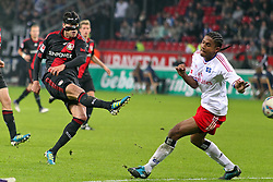 05.11.2011,  BayArena, Leverkusen, GER, 1.FBL, Bayer 04 Leverkusen vs Hamburger SV, im Bild.Schuss von Michael Ballack (Leverkusen #13) gegen Michael Marcienne (Hamburg #3) (R)..// during the 1.FBL, Bayer Leverkusen vs Hamburger SV on 2011/11/05, BayArena, Leverkusen, Germany. EXPA Pictures © 2011, PhotoCredit: EXPA/ nph/  Mueller       ****** out of GER / CRO  / BEL ******