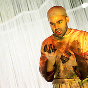 "January 7, 2013 - New York, NY : Edwin Vega performs as Sumeida in a dress rehearsal of Beth Morrison's ""Sumeida's Song,"" an opera adapted from Tawfiq El-Hakim's ""The Song of Death,"" at HERE Arts Center in Manhattan on Monday evening. CREDIT: Karsten Moran for The New York Times"