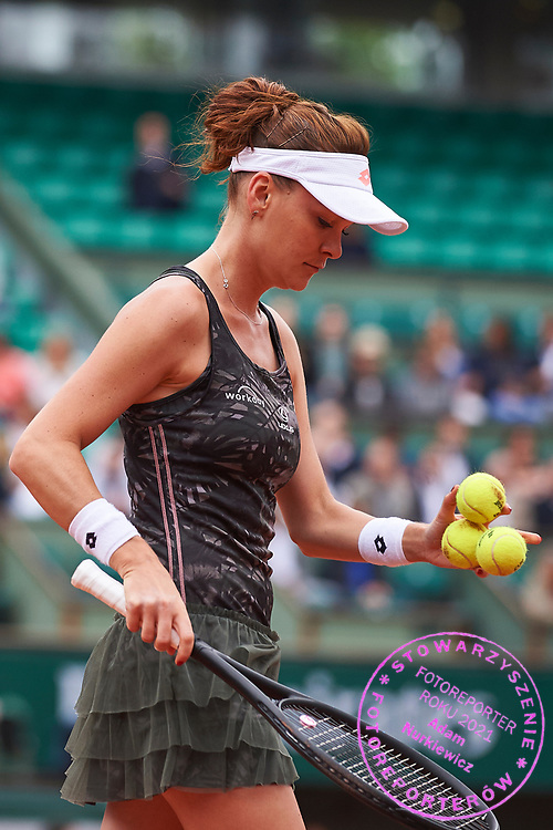 Paris, France - 2017 June 03: Agnieszka Radwanska from Poland serves during her women's single match third round  during tennis Grand Slam tournament The French Open 2017 (also called Roland Garros) at Stade Roland Garros on June 03, 2017 in Paris, France.<br /> <br /> Mandatory credit:<br /> Photo by &copy; Adam Nurkiewicz<br /> <br /> Adam Nurkiewicz declares that he has no rights to the image of people at the photographs of his authorship.<br /> <br /> Picture also available in RAW (NEF) or TIFF format on special request.<br /> <br /> Any editorial, commercial or promotional use requires written permission from the author of image.