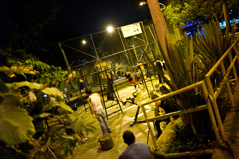 Pumping iron at night in Medellín, Antioquia, Colombia.