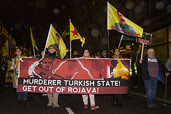 London, UK. 11 October, 2019. Kurdish supporters of the YPG march from Oxford Circus to the BBC's New Broadcasting House in protest against Turkey's ground invasion of Kurdish-held areas in northern Syria and to call for the UK to stop supporting the Turkish government. The latest UN reports suggest that 100,000 people have already fled their homes in Northern Syria as a result of the Turkish assault.