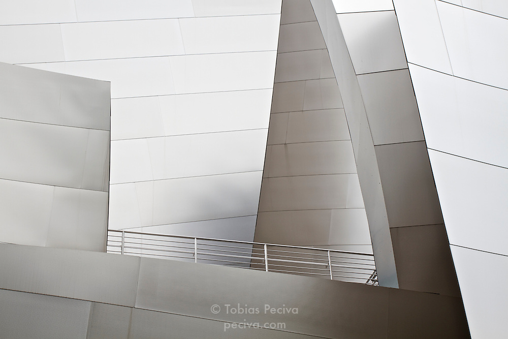 Exterior detail of the Walt Disney Concert Hall, in Downtown Los Angeles, California.