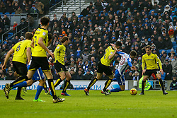 Solly March of Brighton & Hove Albion goes down in the penalty box, tackled by John Mousinho of Burton Albion - Mandatory by-line: Jason Brown/JMP - 11/02/2017 - FOOTBALL - Amex Stadium - Brighton, England - Brighton and Hove Albion v Burton Albion - Sky Bet Championship