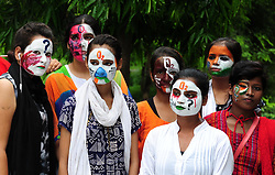 August 14, 2017 - Allahabad, Uttar Pradesh, India - Students make painting on their face during a protest against death of children at BRD Hospital Gorakhpur. (Credit Image: © Prabhat Kumar Verma/Pacific Press via ZUMA Wire)