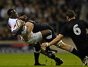 Twickenham. GREAT BRITAIN, Paul SACKEY driven backwards by Chris JACKS Tackle. during the, 2006 Investec Challenge, game between, England  and New Zealand [All Blacks], on Sun., 05/11/2006, played at the Twickenham Stadium, England. Photo, Peter Spurrier/Intersport-images].....   [Mandatory Credit, Peter Spurier/ Intersport Images].