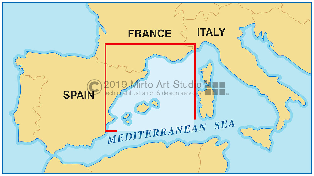 Vector map of the Balearic Islands, Spain
