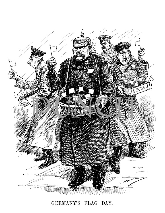 Germany's Flag Day. (Field Marshal Hindenburg and his military staff selling white flags of surrender on the street)
