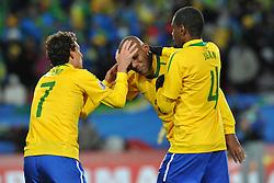 Football - soccer: FIFA World Cup South Africa 2010, Brazil (BRA) - Korea DPR (PRK), elano e Douglas Maicon