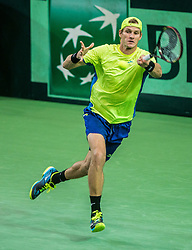 Blaz Rola of Slovenia in action during the Day 1 of Davis Cup 2018 Europe/Africa zone Group II between Slovenia and Poland, on February 3, 2018 in Arena Lukna, Maribor, Slovenia. Photo by Vid Ponikvar / Sportida