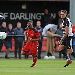TELFORD COPYRIGHT MIKE SHERIDAN 8/9/2018 - Andre Brown of AFC Telford gives chase during the Vanarama Conference North fixture between Darlington FC and AFC Telford United.