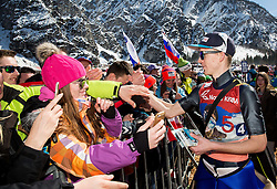 Manuel Fettner (AUT) with fans during Ski Flying Hill Team Competition at Day 3 of FIS Ski Jumping World Cup Final 2016, on March 19, 2016 in Planica, Slovenia. Photo by Vid Ponikvar / Sportida