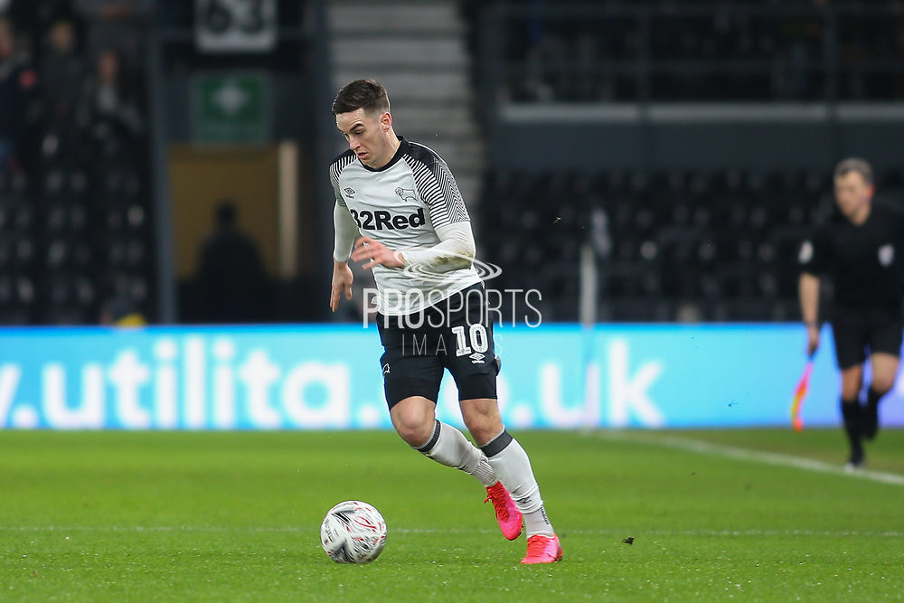 Derby County forward Tom Lawrence (10) on the ball during the The FA Cup match between Derby County and Northampton Town at the Pride Park, Derby, England on 4 February 2020.