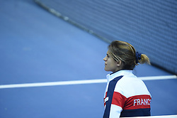 French Fed Cup captain Amelie Mauresmo during the match at the final round tie against Czech Republic at the Rhenus Arena, Strasbourg, France on November, 13, 2016. Photo by Corinne Dubreuil/ABACAPRESS.COM