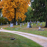 """""""Highland Ave""""<br /> <br /> A curve along Highland Ave in Highland cemetery during autumn!"""