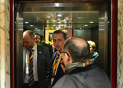 © Licensed to London News Pictures. 08/03/2013. Brighton, UK. Leader of the Liberal democrats and Deputy Prime Minister Nick Clegg talks enters a lift at the conference centre on International Women's Day at the Party Rally Liberal Democrat Spring Conference in Brighton today 8th March 2013. Photo credit : Stephen Simpson/LNP