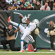 Miami Dolphin wide receiver Marlon Moore drops a pass while challenged by Dee Milliner, New York Jets, during the New York Jets Vs Miami Dolphins  NFL American Football game at MetLife Stadium, East Rutherford, NJ, USA. 1st December 2013. Photo Tim Clayton