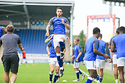 Chesterfield warm up during the Pre-Season Friendly match between Chesterfield and Rotherham United at the b2net stadium, Chesterfield, England on 25 July 2017. Photo by Mick Haynes.