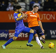 Andy Drury of Luton Town (right) and Nat Knight-Percival of Shrewsbury Town (left) during the Sky Bet League 2 match at Kenilworth Road, Luton<br /> Picture by David Horn/Focus Images Ltd +44 7545 970036<br /> 08/01/2015