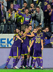 Players of Maribor celebrate after scoring first goal in last minute during football match between NK Maribor and Maccabi Tel Aviv FC (ISR) in Third qualifying round of UEFA Champions League on July 30, 2014 in Stadium Ljudski vrt, Maribor, Slovenia. Photo by Vid Ponikvar / Sportida.com