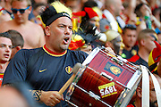 Belgium fan beating his drum before the Euro 2016 match between Sweden and Belgium at Stade de Nice, Nice, France on 22 June 2016. Photo by Andy Walter.