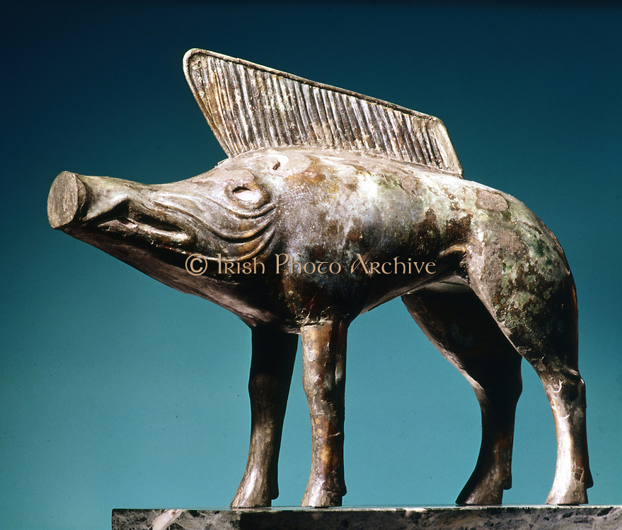 Celtic Art: Bronze boar from Sanctuary of Newy (Loiret). Musee d'Orleans.