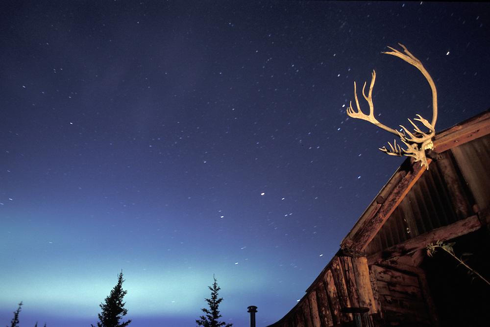 Aurora Borealis and barn, North America