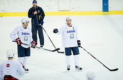 Jakob Milovanovic, Nik Zupancic and Jan Mursak during practice session of Slovenian Ice Hockey National Team at training camp, on February 8th, 2016 in Ledna dvorana, Bled, Slovenia. Photo by Vid Ponikvar / Sportida