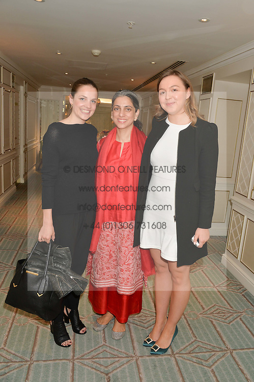 Left to right, BEANIE MAJOR, PREAH NARANG and ZENOUSKA MOWATT at a breakfast hosted by Halcyon Days at Fortnum & Mason, 181 Piccadilly, London on 8th July 2014.