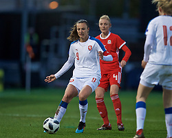 NEWPORT, WALES - Thursday, April 4, 2019: Czech Republic's captain Lucie Vonkova (L) and Wales' Sophie Ingle during an International Friendly match between Wales and Czech Republic at Rodney Parade. (Pic by David Rawcliffe/Propaganda)