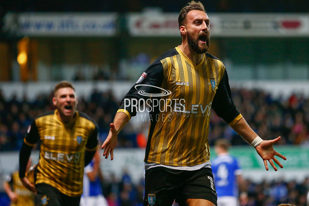 Sheffield Wednesday forward Atdhe Nuhiu (17)  scores and celebrates during the EFL Sky Bet Championship match between Ipswich Town and Sheffield Wednesday at Portman Road, Ipswich, England on 22 November 2017. Photo by Phil Chaplin.