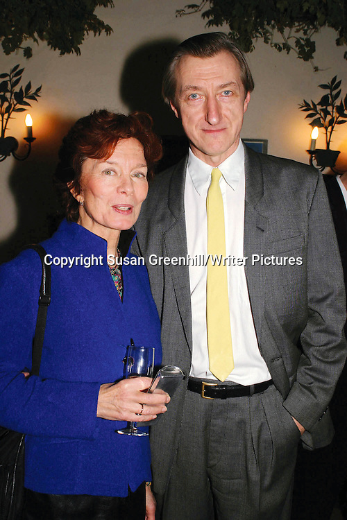 JULIAN  BARNES with his wife literary agent PAT KAVANAGH.<br /> Party to celebrate publication of &quot;The Lemon Table' by Julian Barnes.<br /> <br /> copyright Susan Greenhill/Writer Pictures<br /> contact +44 (0)20 822 41564<br /> info@writerpictures.com<br /> www.writerpictures.com