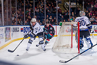 KELOWNA, CANADA - OCTOBER 5:  Erik Gardiner #11 of the Kelowna Rockets chases Matthew Smith #9 of the Victoria Royals as he skates with the puck behind the net  on October 5, 2018 at Prospera Place in Kelowna, British Columbia, Canada.  (Photo by Marissa Baecker/Shoot the Breeze)  *** Local Caption ***