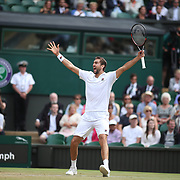 LONDON, ENGLAND - JULY 14: Marin Cilic of Croatia celebrates victory against Sam Querrey of the United States in the Gentlemen's Singles Semi-final of the Wimbledon Lawn Tennis Championships at the All England Lawn Tennis and Croquet Club at Wimbledon on July 14, 2017 in London, England. (Photo by Tim Clayton/Corbis via Getty Images)