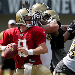 10 August 2009: New Orleans Saints quarterback Drew Brees (9) throws during New Orleans Saints training camp at the team's practice facility in Metairie, Louisiana.