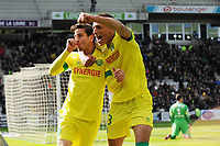 Fotball<br /> Frankrike<br /> 05.04.2015<br /> Foto: Panoramic/Digitalsport<br /> NORWAY ONLY<br /> <br /> joie Alejandro Bedoya apres son but - Yacine Bammou (Nantes)<br /> <br /> Nantes vs Caen - Ligue 1