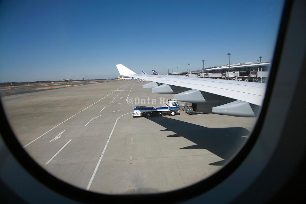 taxiing to the the terminal at Narita airport Japan
