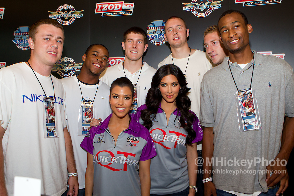 Kourtney and Kim Kardashian seen with the Butler Bulldogs at the Indianapolis Motor Speedway during Indy 500 weekend.<br /> Photo by Michael Hickey