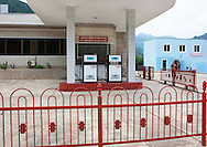 Closed gas station in Pyongyang, North Korea.