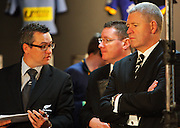 All Blacks media manager Joe Locke, communications manager Brian Finn and NZRU CEO Steve Tew.<br /> All Blacks end-of-year tour team announcement, NZRU HQ, Wellington. Sunday, 26 October 2008. Photo: Dave Lintott/PHOTOSPORT