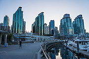 Coal Harbour waterfront buildings, Vancouver Harbour, Vancouver, British Columbia, Canada.