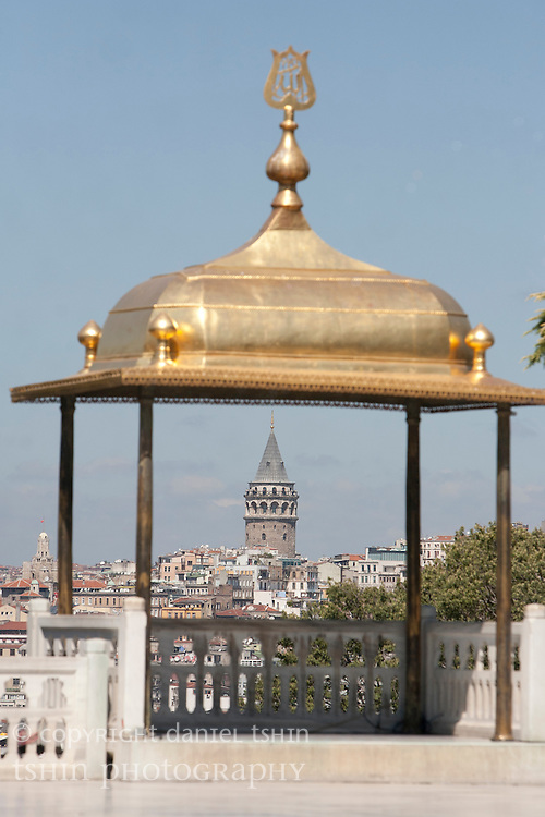 Covered gazebo at Topkapi Palace with Galata Tower in the background