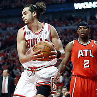 10 May 2011: Chicago Bulls center Joakim Noah (13) grabs a rebound during the Chicago Bulls 95-83 victory over the Atlanta Hawks, during game 5 of the Eastern Conference semi finals at the United Center, Chicago, Illinois, USA.
