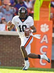 November 21, 2009; Clemson, SC, USA;  Virginia Cavaliers quarterback Jameel Sewell (10) during the second quarter against the Clemson Tigers at Memorial Stadium.  Clemson defeated Virginia 34-21.